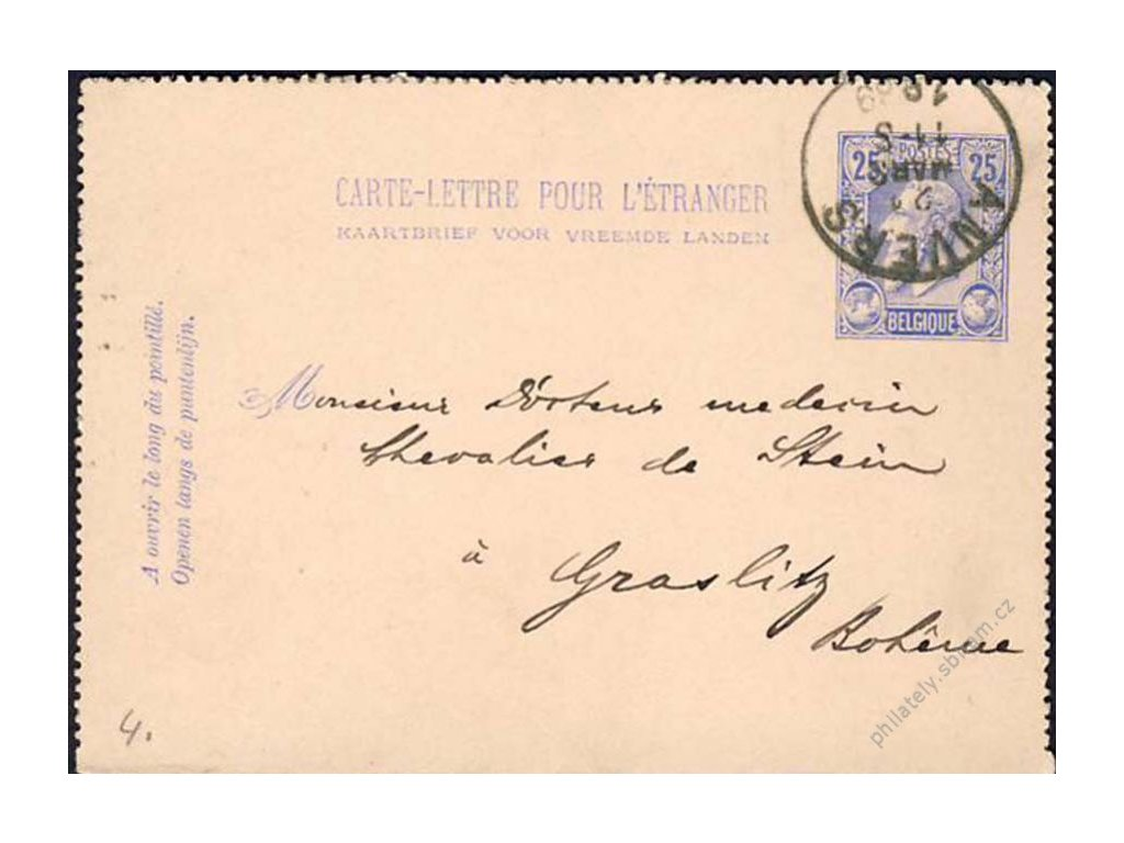 1889, DR Anvers, zálepka zaslaná do Čech