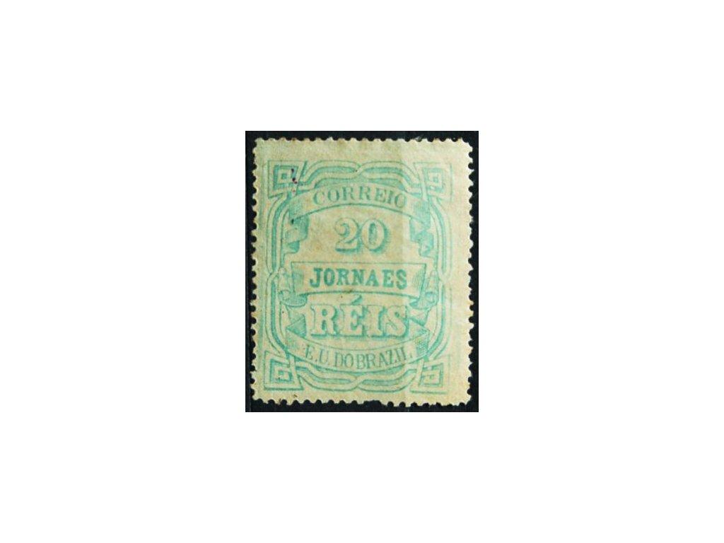 Brasilie, 1890, 20R novinová, těžká * , vada, MiNr.95