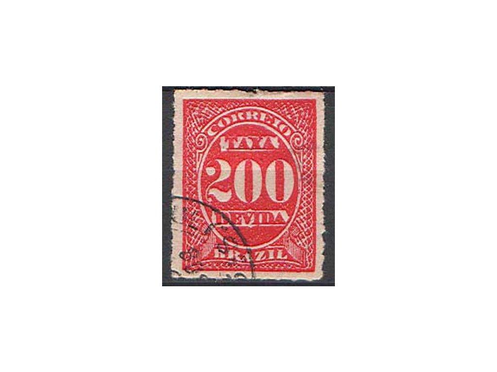 Brasilie, 1890, 200R doplatní, razítkovaná
