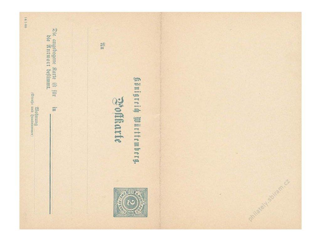 Wurttemberg, 1890, dvojitá dopisnice, neprošlé