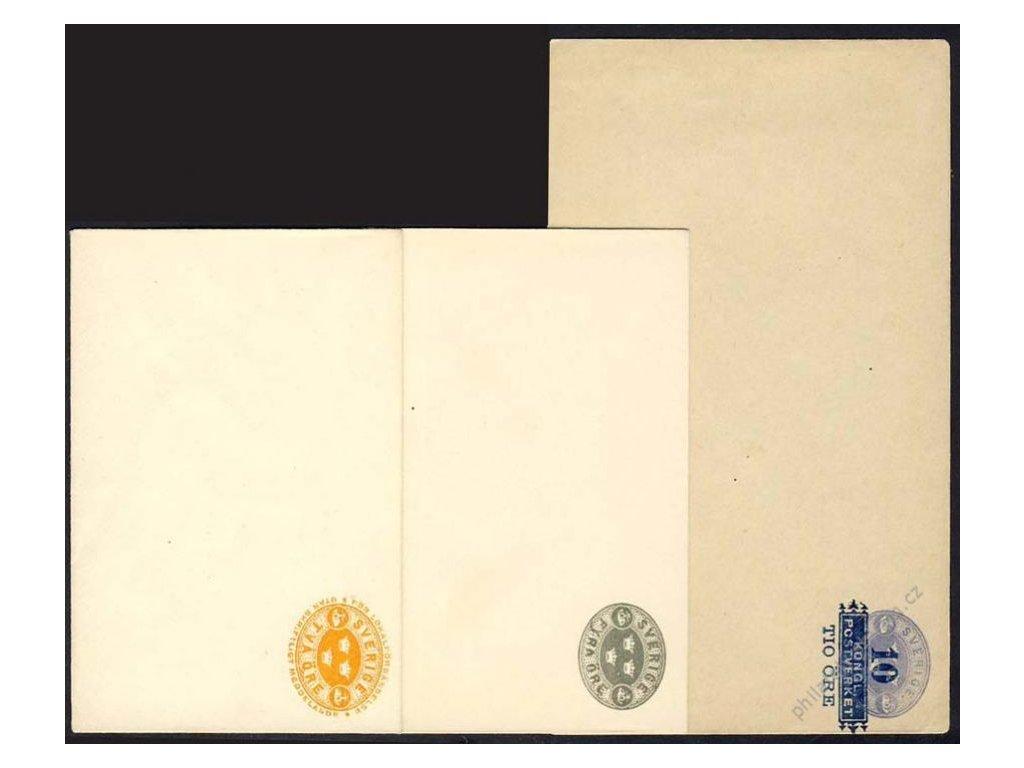 1890/1900, 3 ks celinových obálek, neprošlé