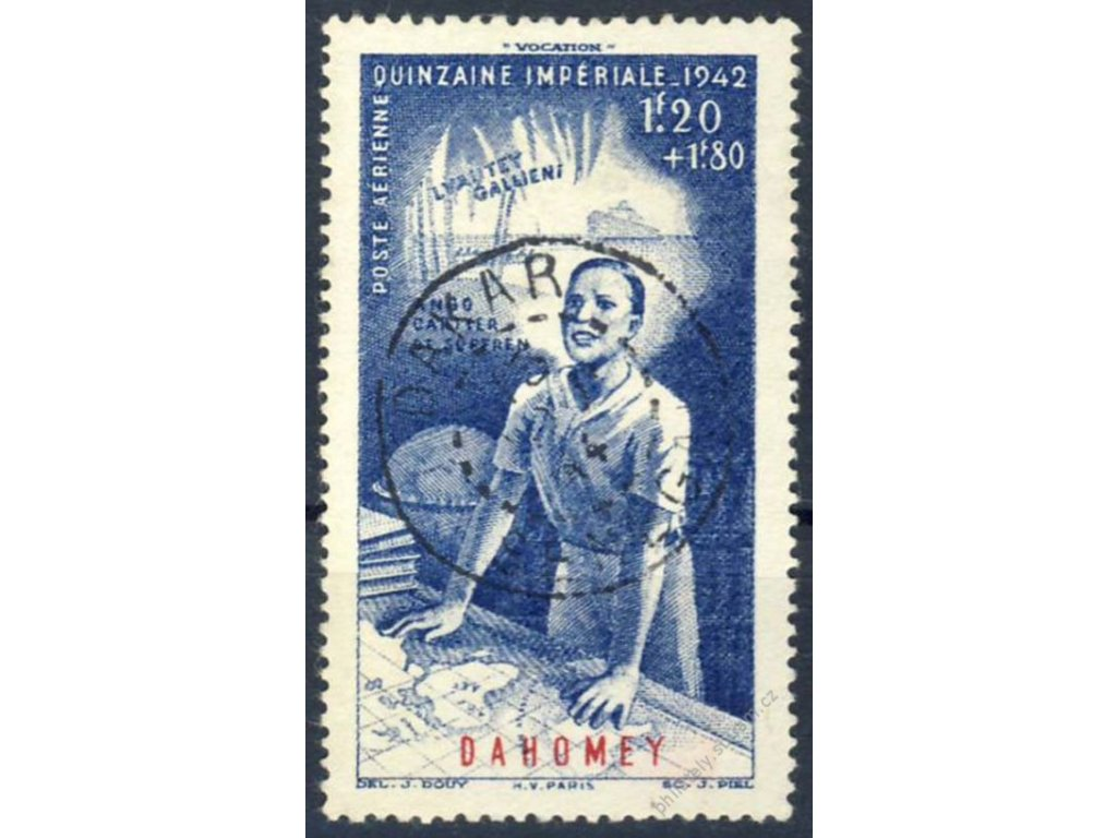 Dahomey, 1942, 1.20Fr letecká, DR Dakar, razítko