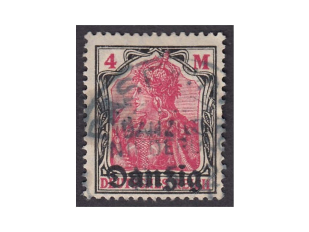 Danzig, 1920, 4M Germenie, MiNr.14, razítkované