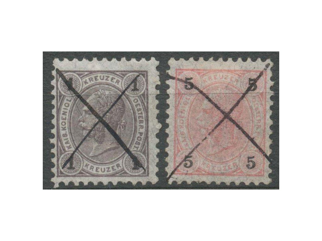 1890, 1 a 5Kr Franc Josef, znehodnoceno škrty, MiNr.50,53