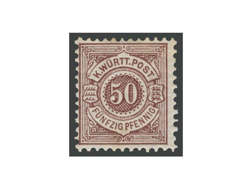 Württemberg, 1890, 50Pf hnědá, MiNr.59, * po nálepce