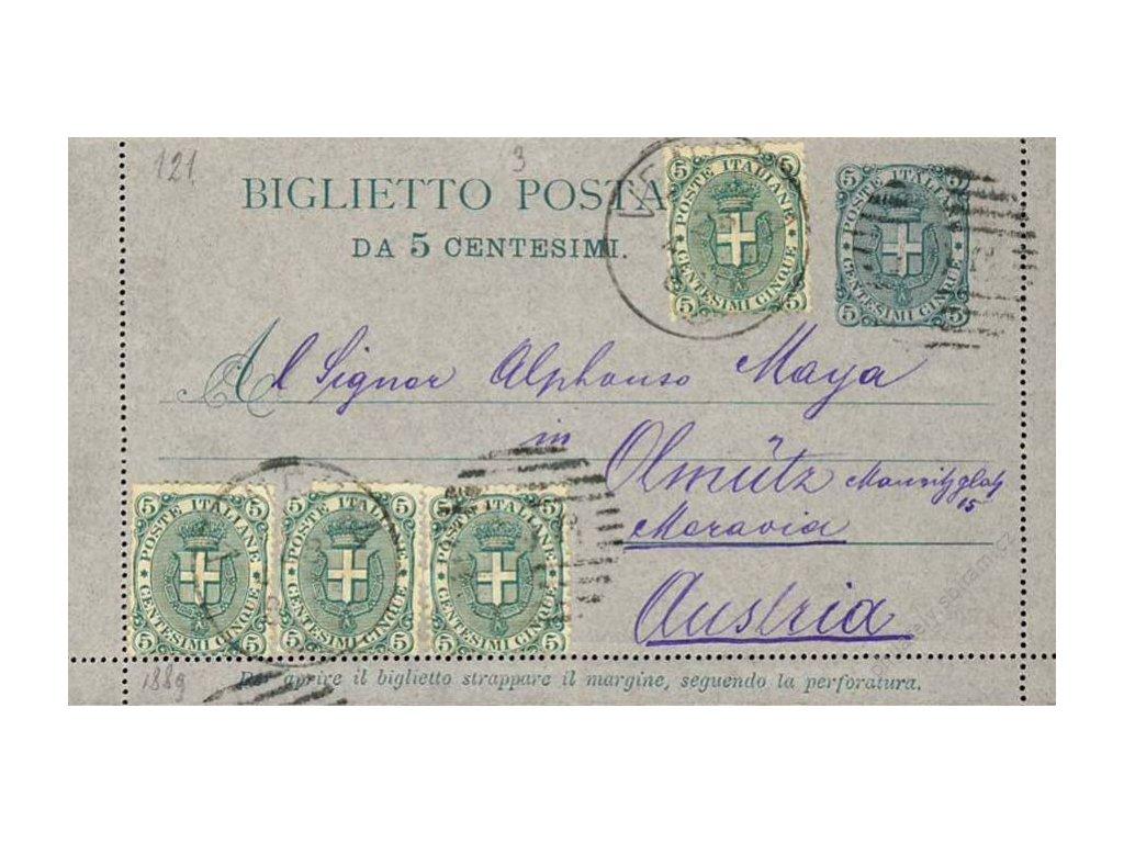 1892, DR Venezia, dopisnice 5C dofr. zn. 5+5+5+5C