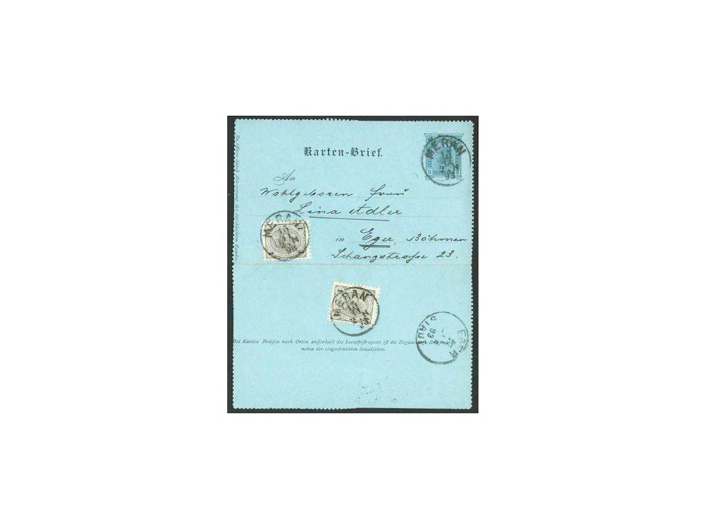 1893, DR Meran, zálepka 3Kr dofr. zn. 1+1Kr