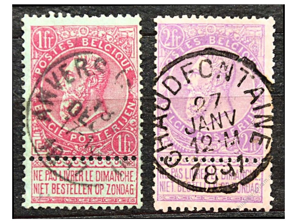 1893, 1 a 2Fr Leopold, Mi.90Euro, razítkované