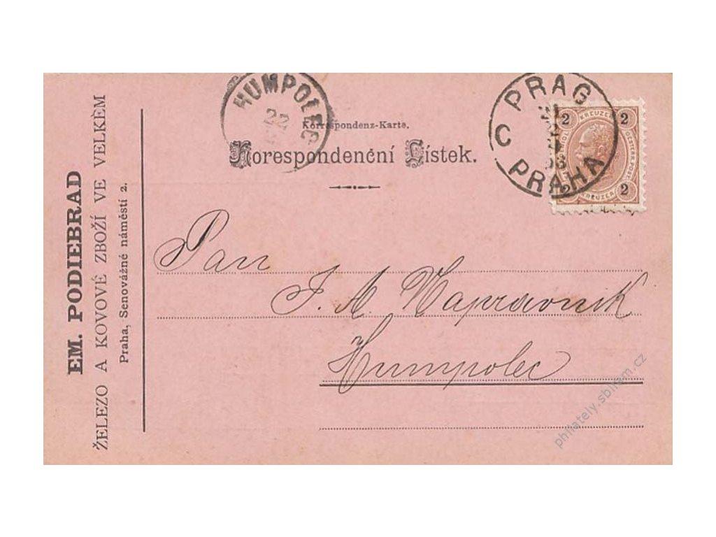 1893, Praha, firemní lístek zaslaný do Humpolce