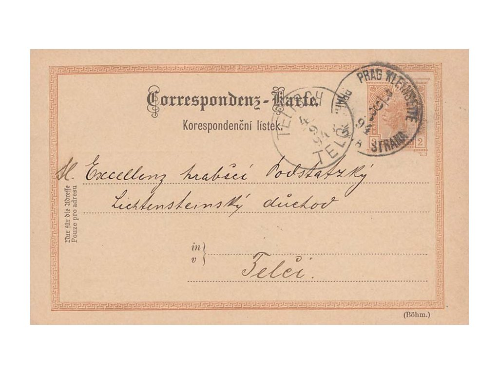 1894, Prag Kleinseette, dopisnice 2Kr Franc Josef, firemní přítisk