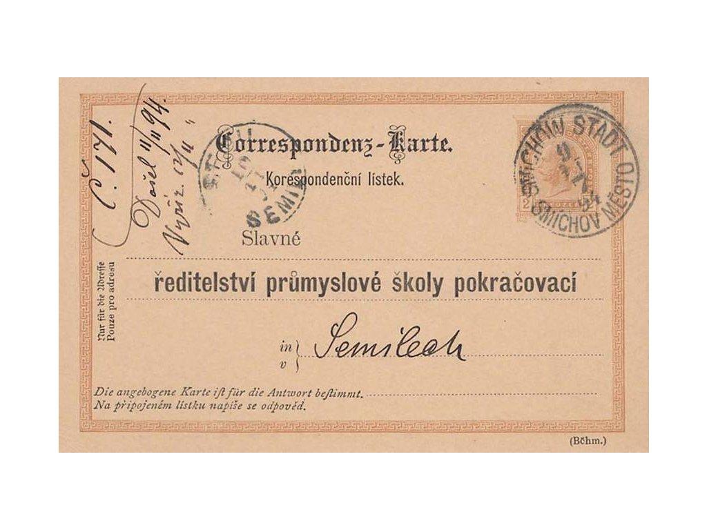 1894, DR Smíchov Město, dopisnice 2Kr s přítiskem, zasl. do Semil