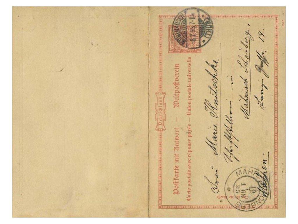 1895, DR Muhlhausen, dopisnice 10Pf Orel, jednostranně prošlé