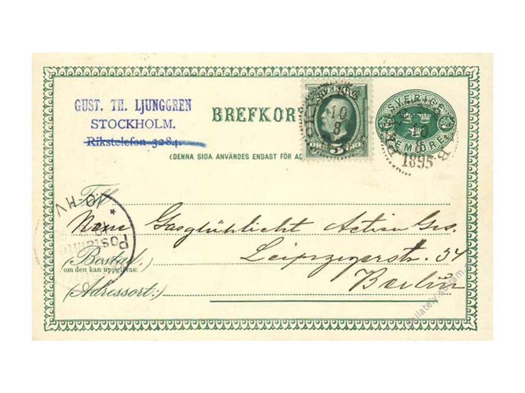 1895, DR Stockholm, dopisnice zasl. do Německa