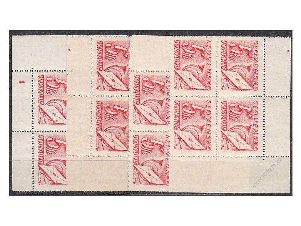 5Ks červená, roh. miniatura ve 4bloku s DČ 1, Nr.DL37, **