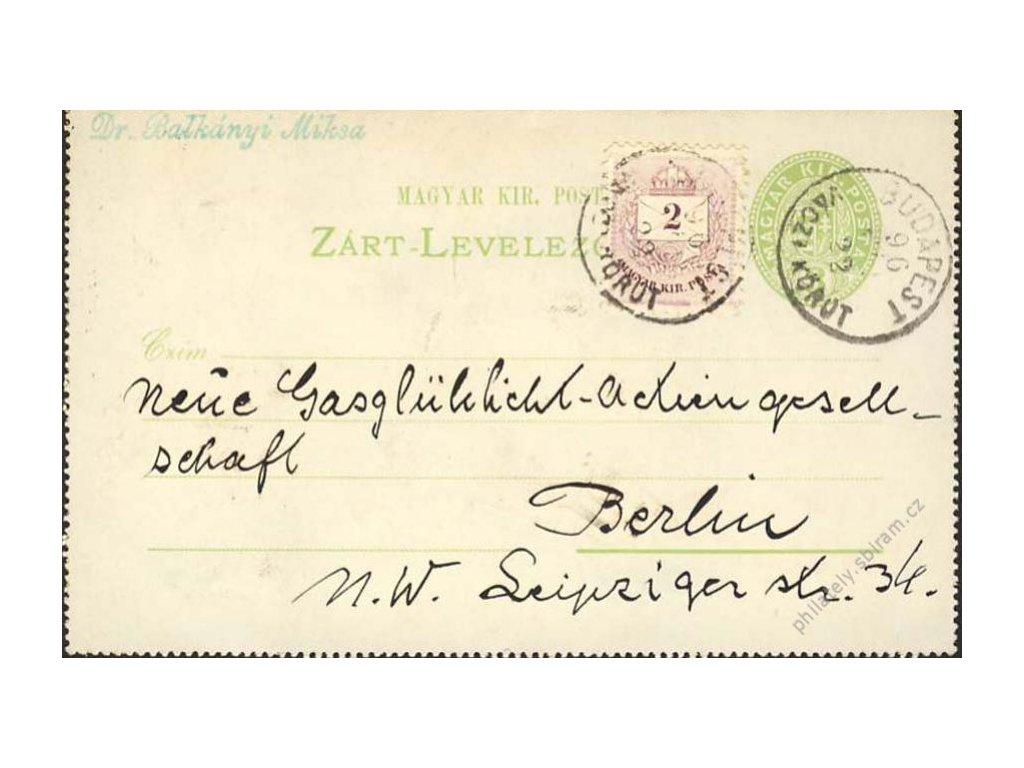 1896, DR Budapest, zálepka, zasl. do Berlína