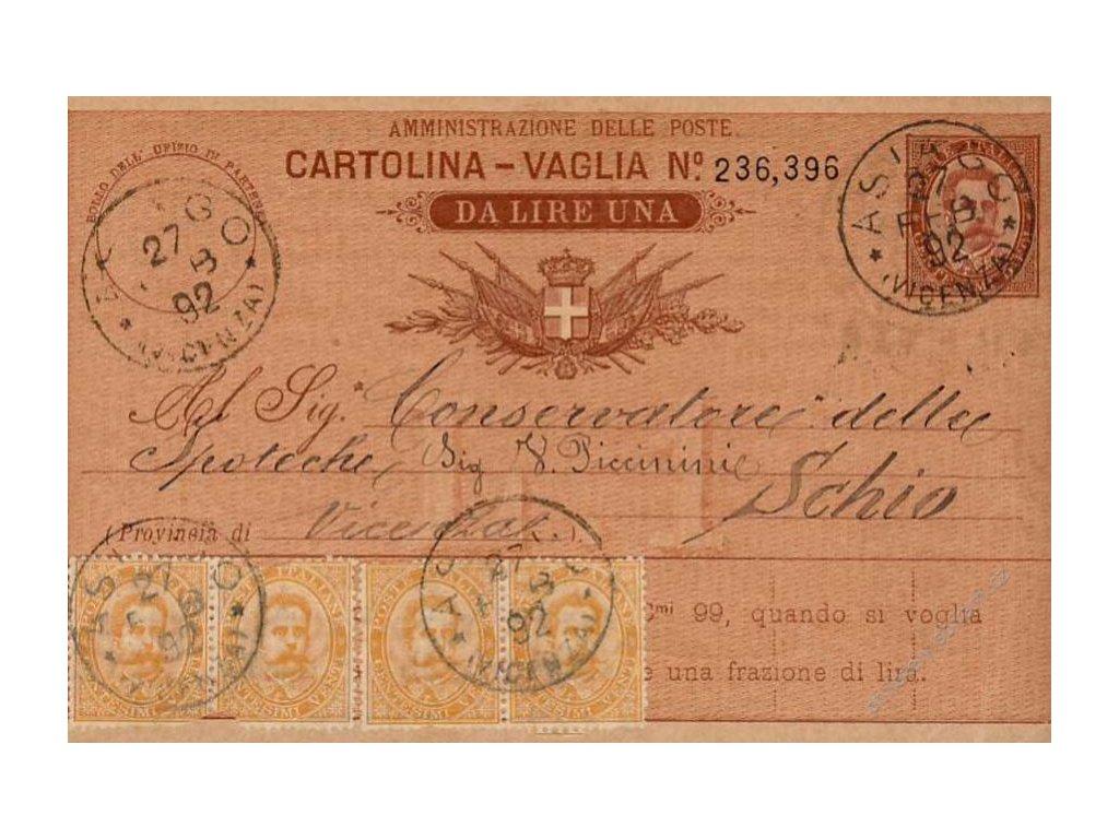 1892, DR Asiago, Cartolina - Vaglia, prošlé