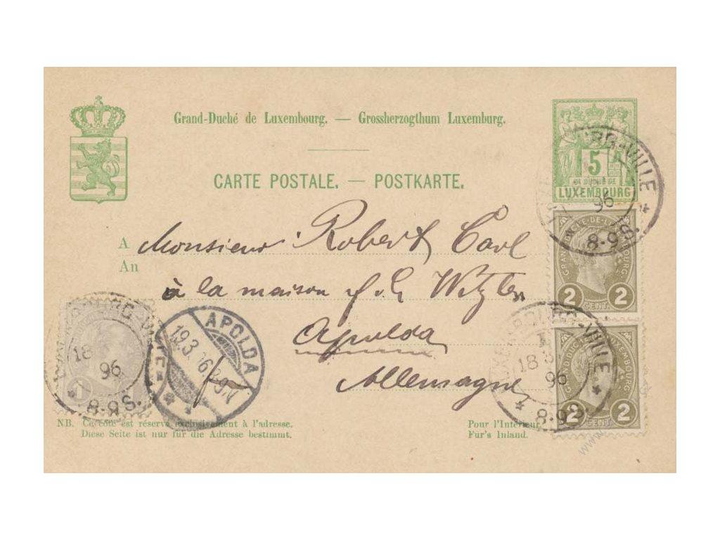1896, dopisnice 5C, bohatě dofrankována, DR Luxembourg