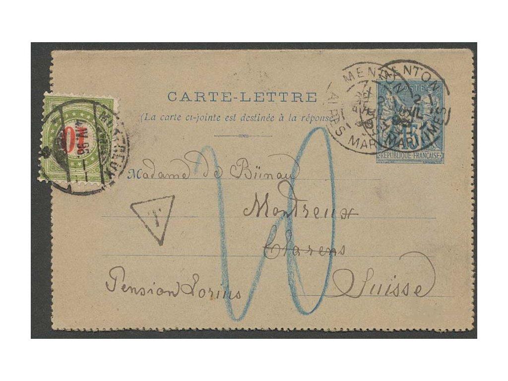 1896, DR Menton, zálepka 15C Alegorie, doplatní známka