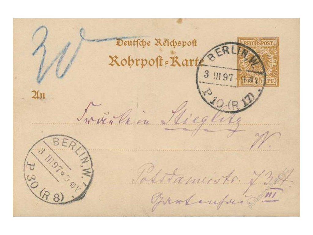 1897, DR Berlin, dopisnice potrubní pošty, obvyklé lomy