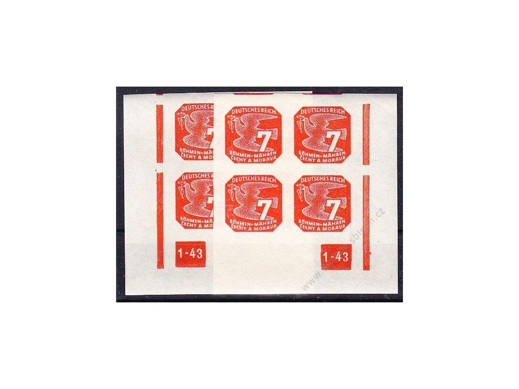 7h oranžová, 2 roh. 4bloky s DČ 1-43, L+P, přerušovaný rám, Nr.NV12, **