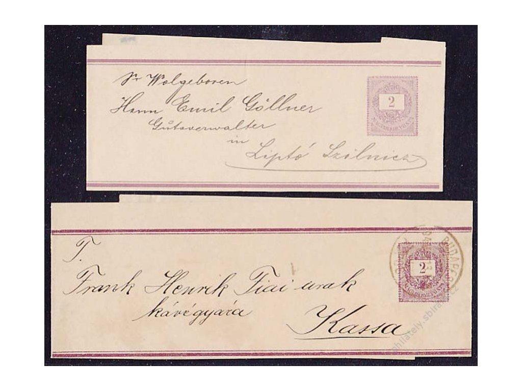 1898, 2 kusy novinových pásek 2f Psaníčko