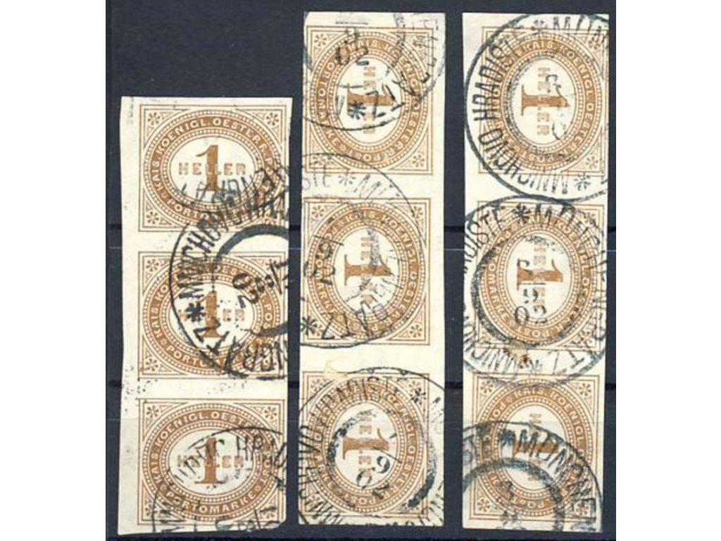 1899, 1H doplatní, 3 ks 3pásek, průsvitky