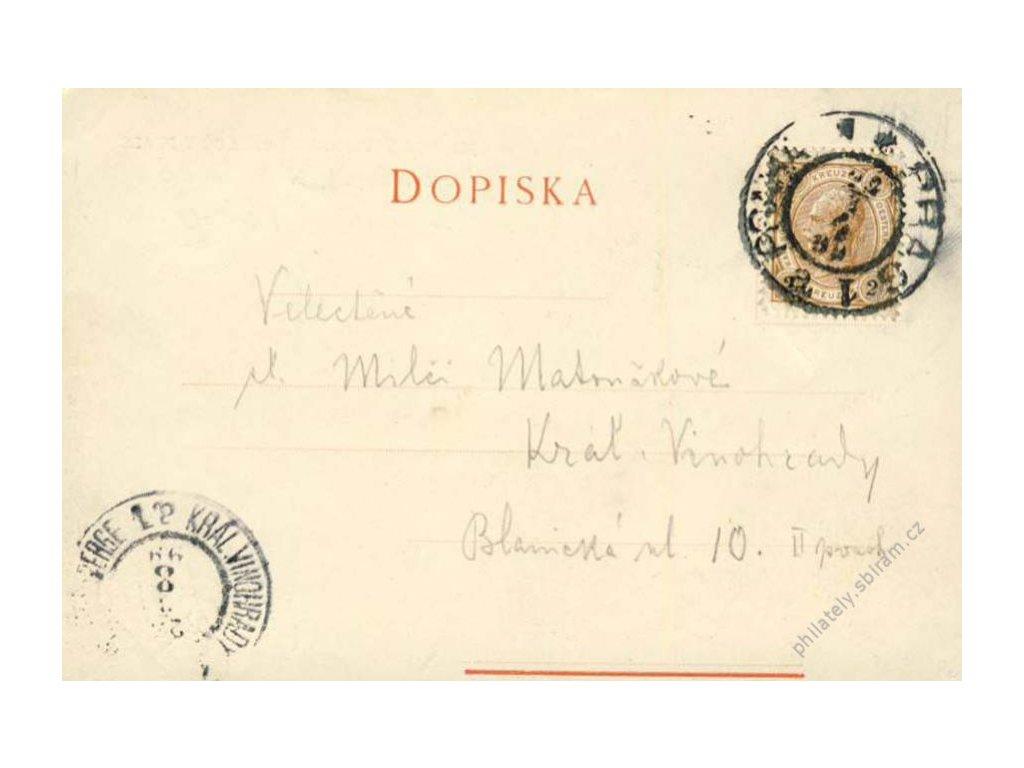 1899, DR Praha, pohlednice Jednoty umělců