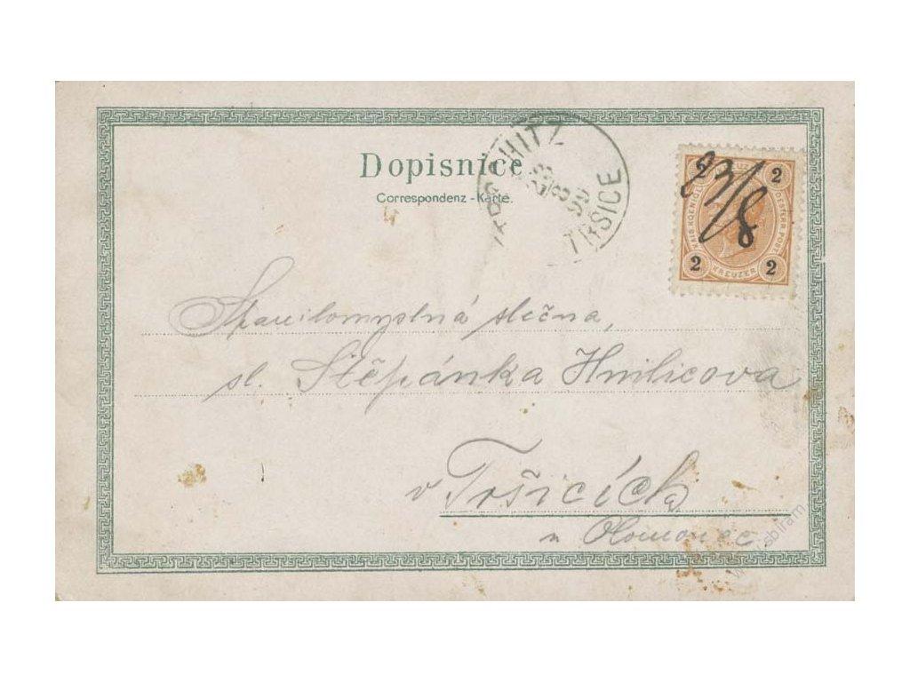 1899, Olomouc, pohlednice, přepis, horší jakost