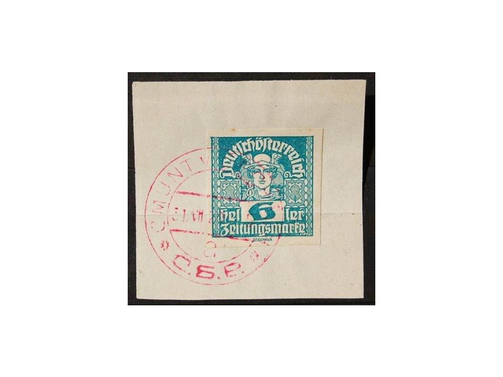 CMUNT V ČECHÁCH, 1920, výstřižek se známkou 6h Merkur