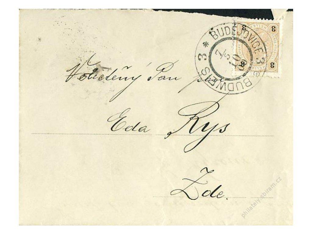 1900, DR České Budějovice, frankovaný telegram