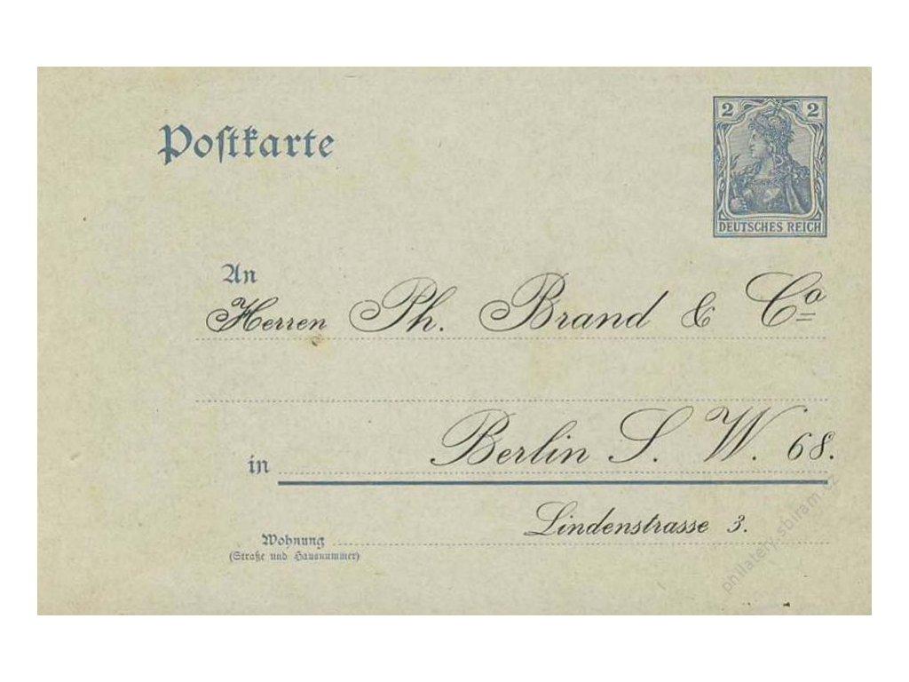 1900, dopisnice 2Pf Germanie s firemním přítiskem