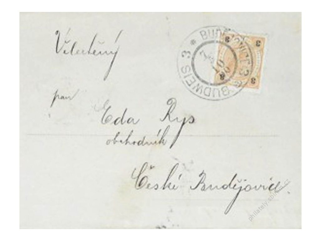 1900, Frankovaný telegram! vyfr. zn. 3H Franc Josef