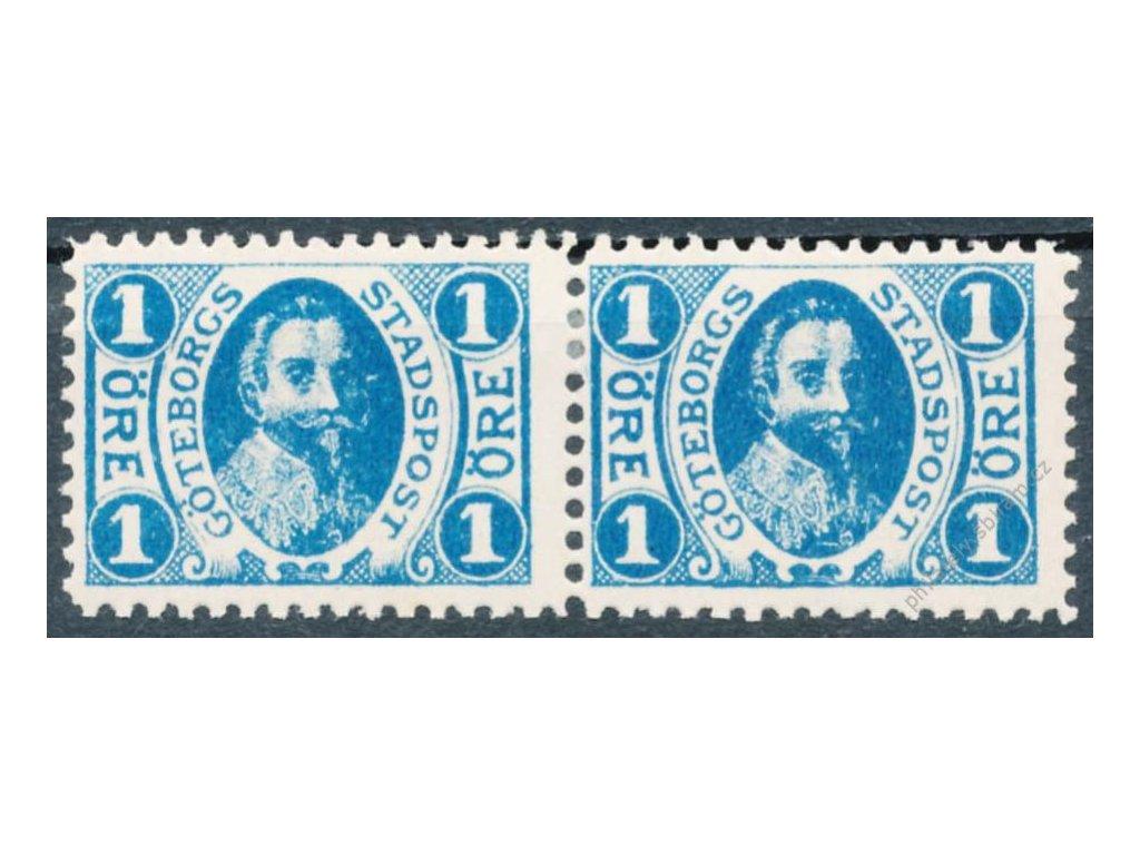 1900, Göteborg, 1Öre modrá, * po nálepce