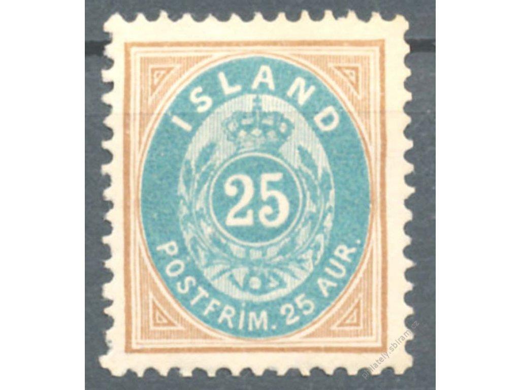 1900, 25A hnědá/modrá, MiNr.21, (*)