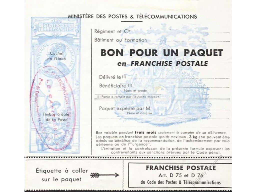 Formulář Bon pour un paquet, **/(*) , přeloženo