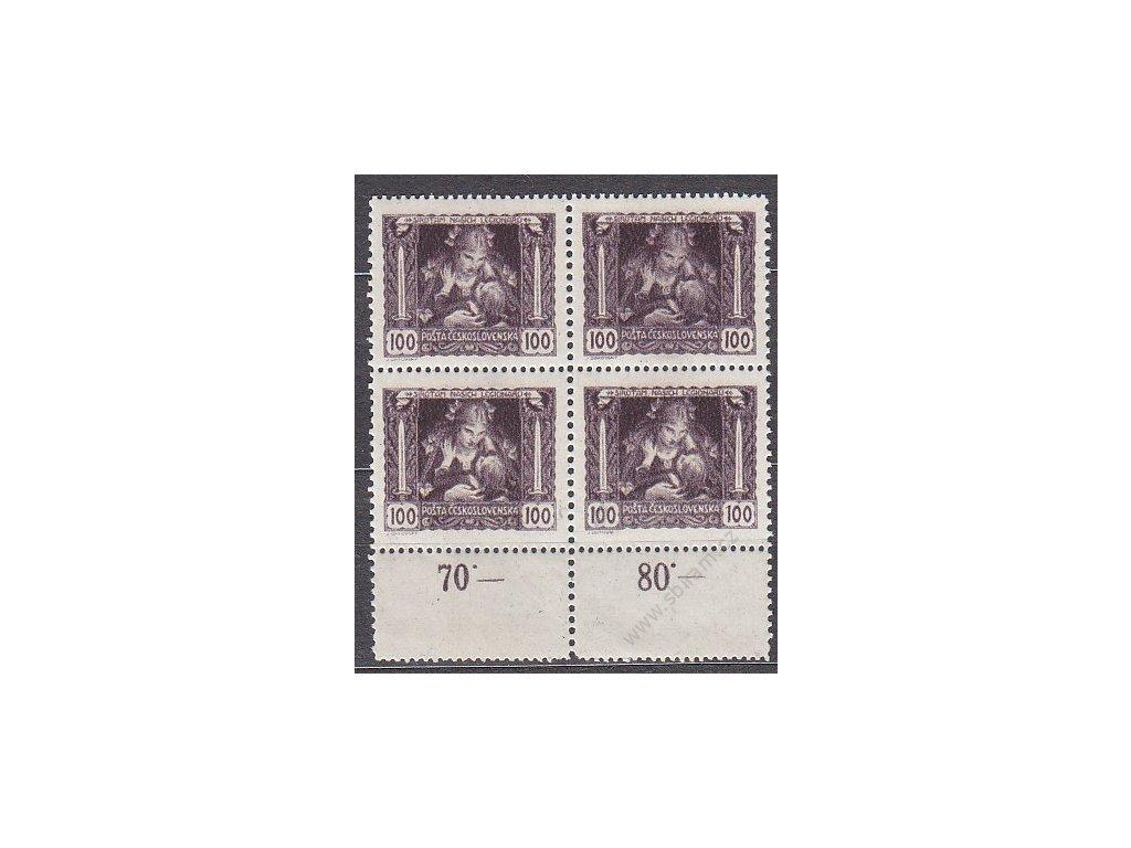 100h hnědofialová, kraj. 4blok s dvojitou perforací na okraji, Nr.31, **, lehký vlom na horn