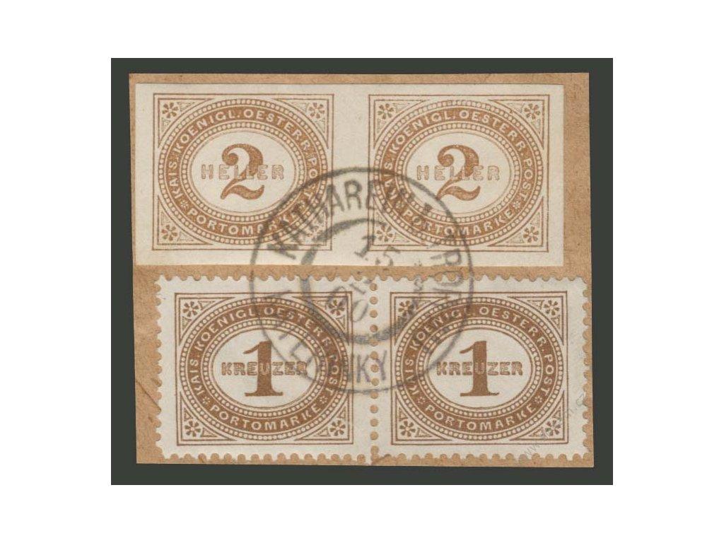 1900, výstřižek se smíš. frank. známek, 2+2H+1+1Kr, dv