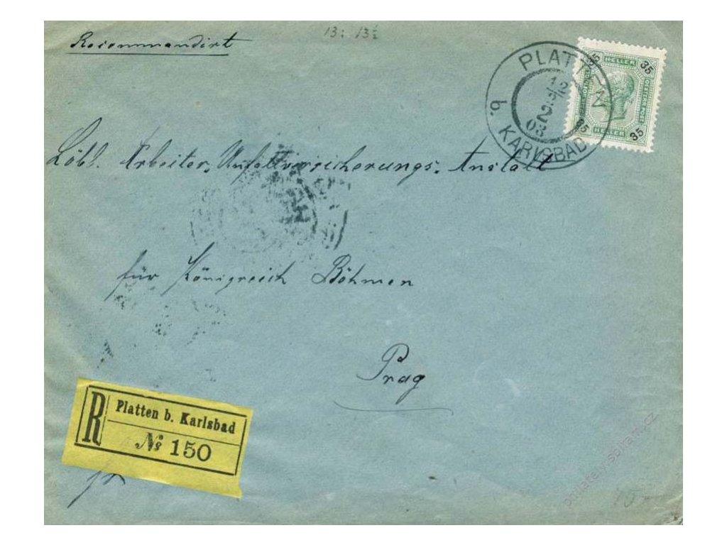 1903, DR Platten b. Karlsbad, R-dopis