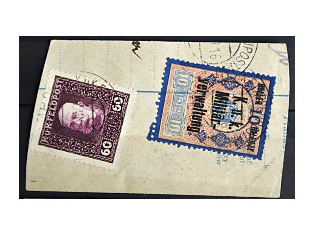 Společné vydání, 1915, 60H Franc Josef MiNr.39A + kolek 10/10H s přetiskem