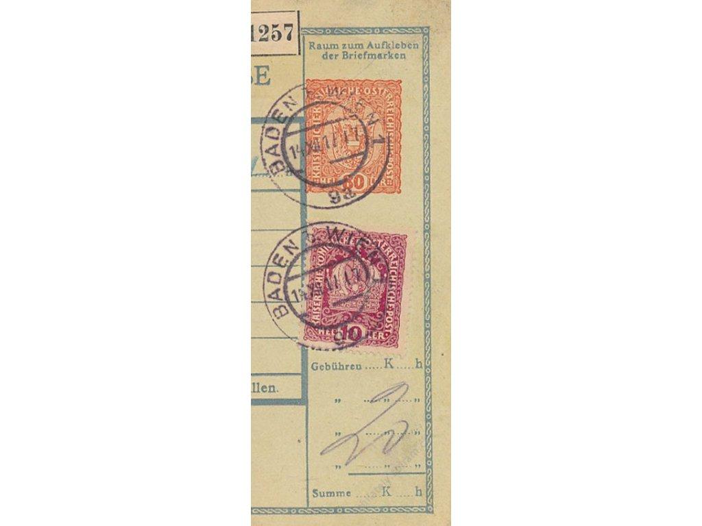 1917, DR Baden, celinový nátisk 80H, útržek průvodky