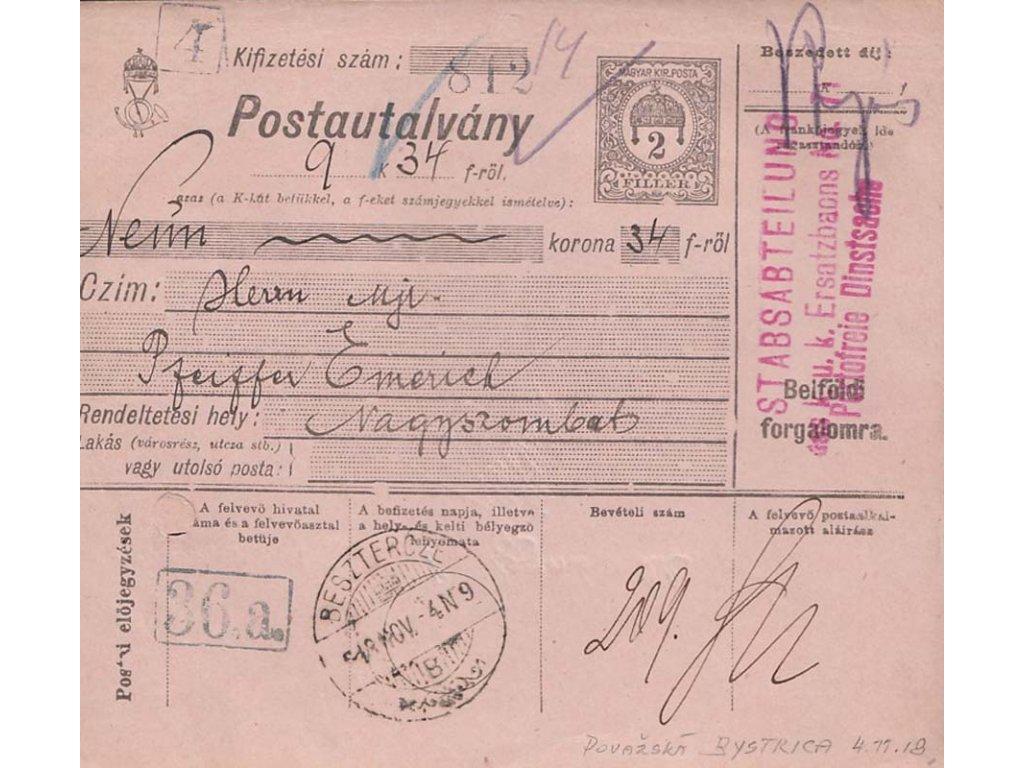 1918, DR Besztercze 4.11., větší díl uherské celinové průvodky