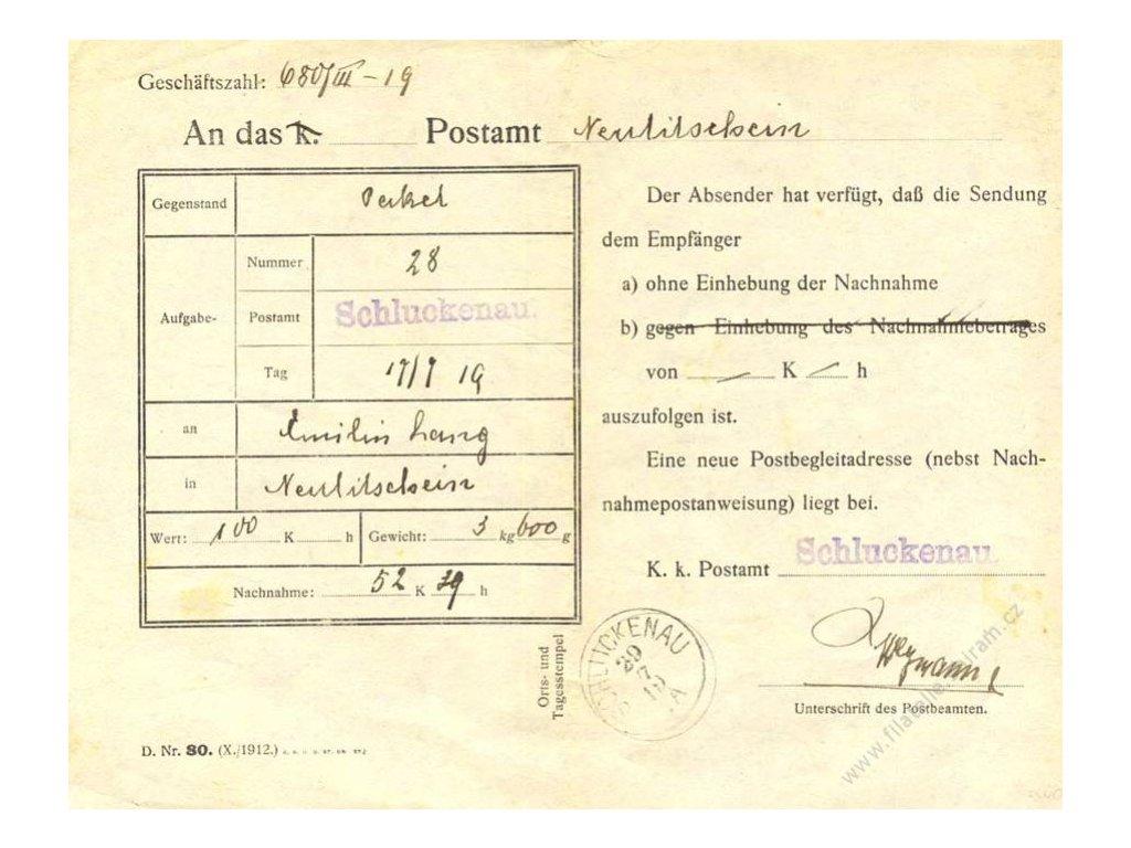 1919, DR Schluckenau 29.7.1919, formulář D. Nr. 80