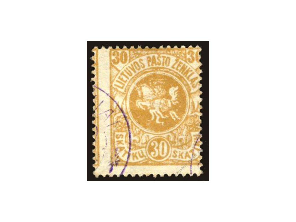 Lietuvos, 1919, 30Sk Znak, razítkované, posun