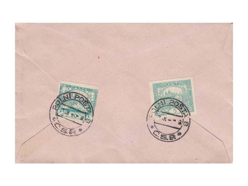 1919, DR Polní pošta 8, dopis vyfr. zn. 5+20h Hradčany, zasl.do Bratislavy