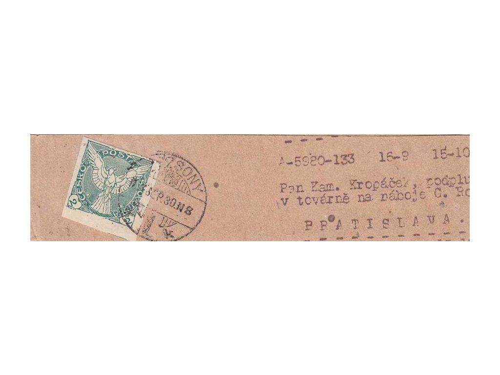 1919, DR Pozsony, novinová páska vyfr. zn. 2h Sokol, zasl. v místě