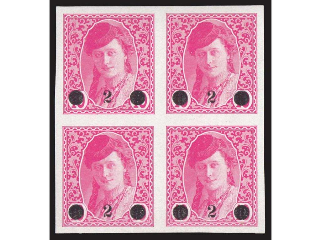 1919, 2H/10H růžová, 4blok, MiNr.28, ** , Mi.400Euro