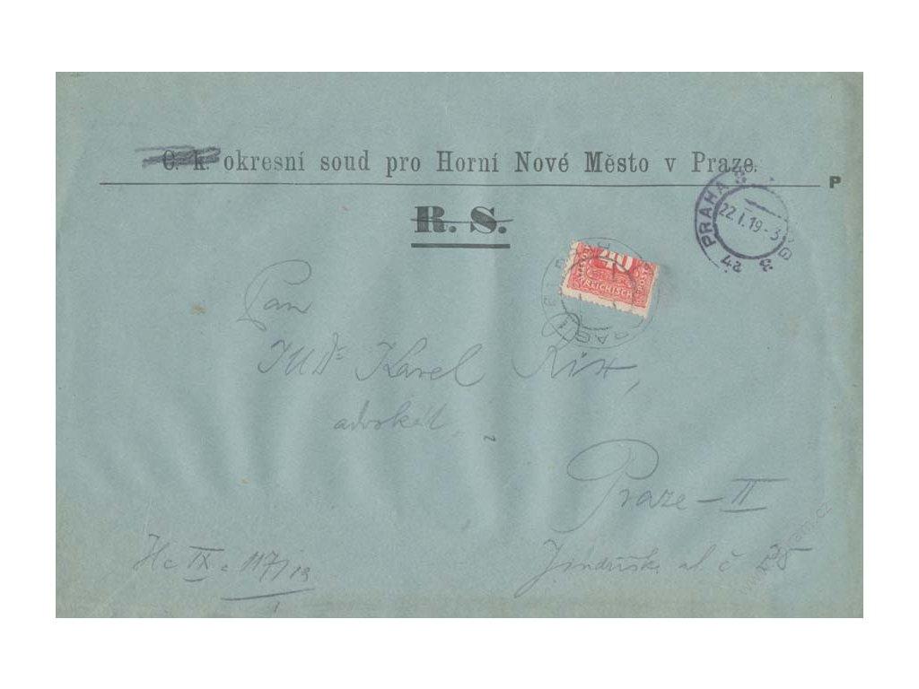 1919, DR Praha 22.1.1919, soudní obsílka, půlená zn. 40H