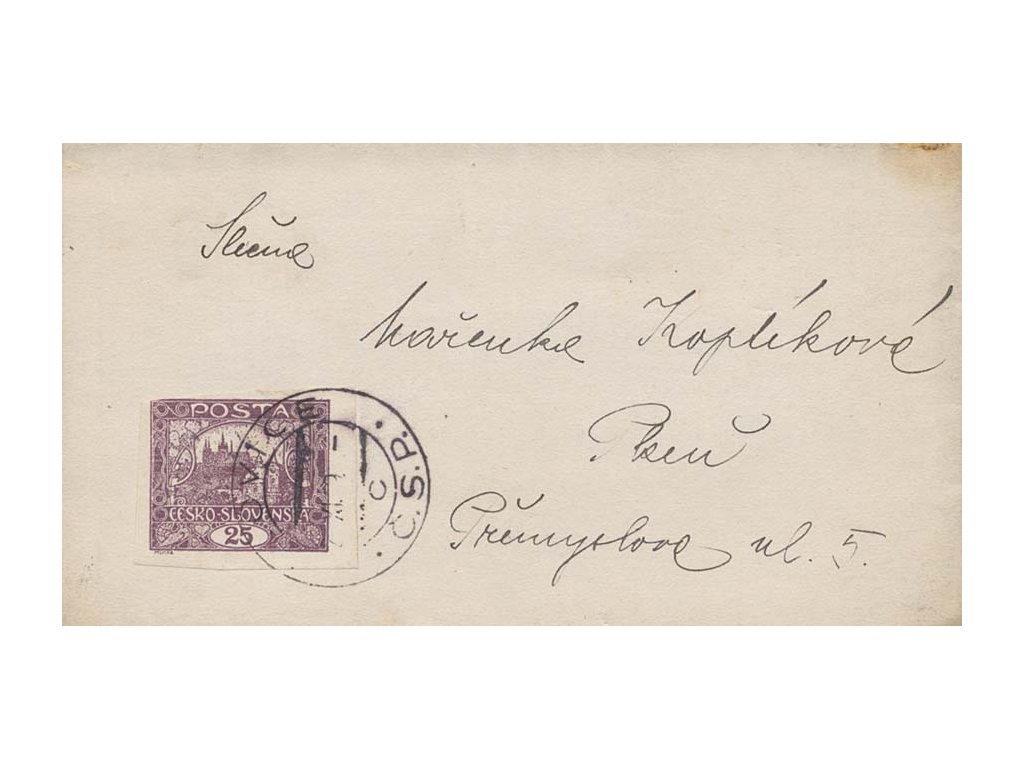 1919, DR Blovice, dopis, 25h Hradčany, příčkový typ