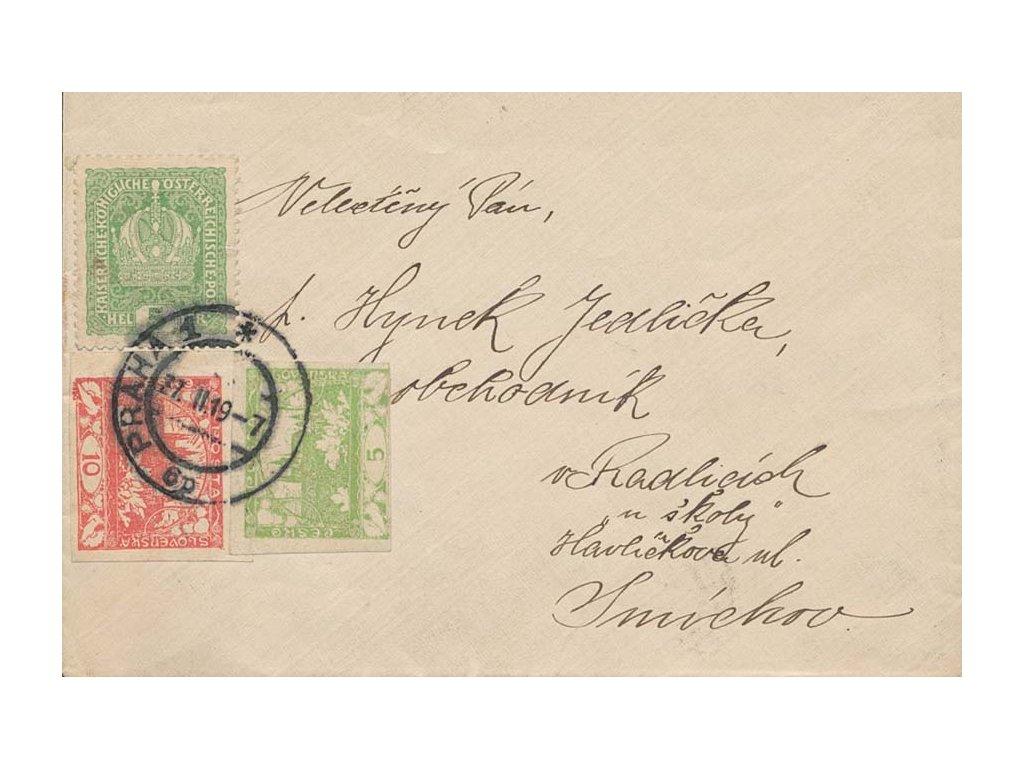 1919, DR Praha 27.2., dopis se smíšenou frankaturou