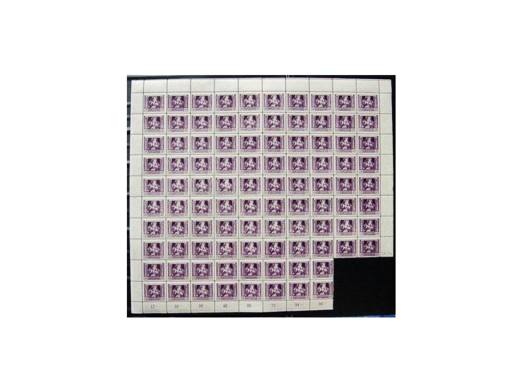 120h fialová, 96 kusový arch, přeloženo v perforaci, 10x pseudokupon, Nr.32B, **